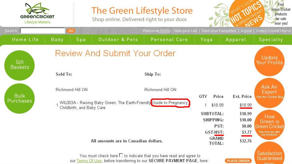 Green Cricket - Book - Guide to Pregnancy - HST with PST