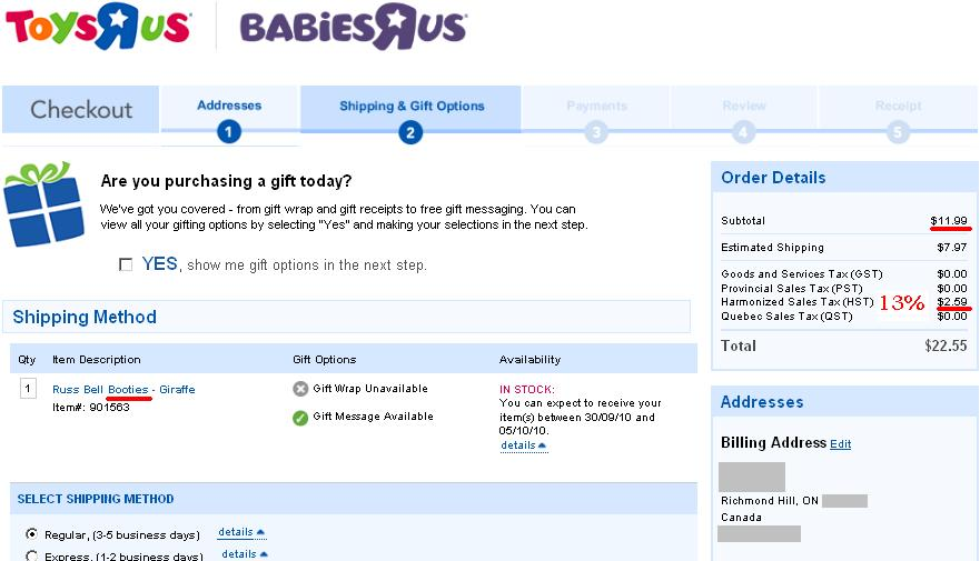 Toysrus Charges 13% HST on Baby Booties in Ontario