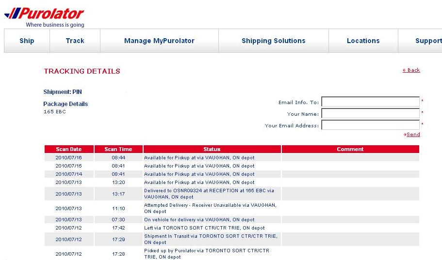 Purolator Delivery Tracking