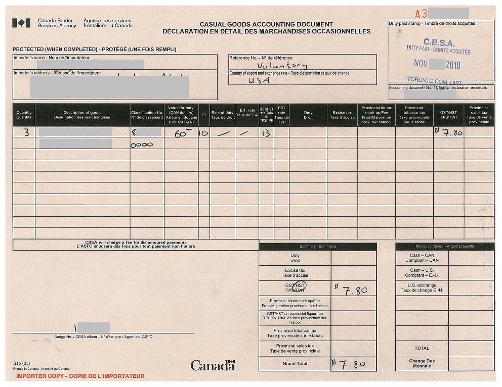 CBSA B15 Casual Goods Accounting Document