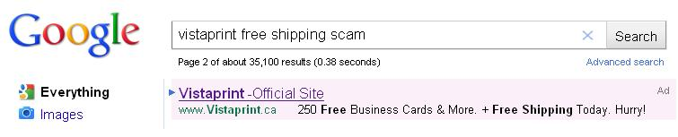 VistaPrint Free Shipping AdSense