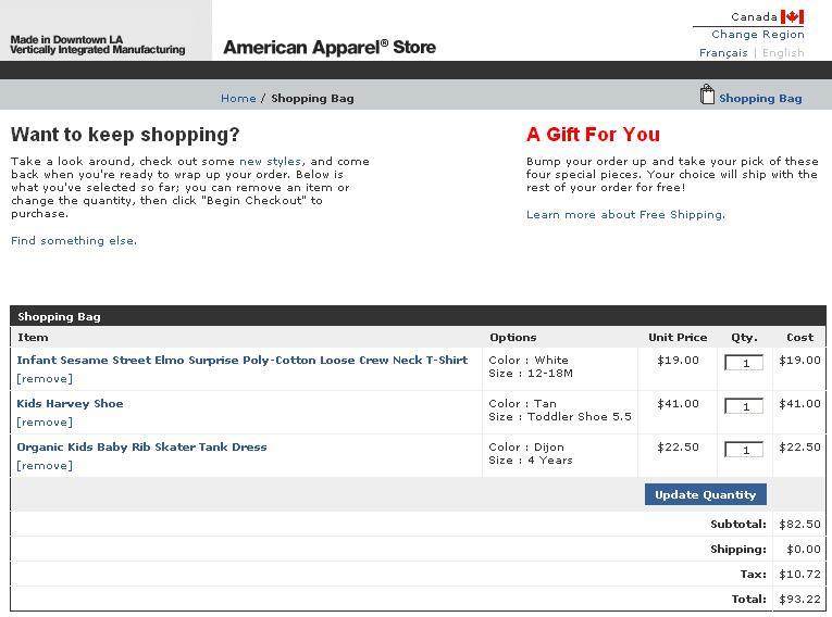 Groupon American Apparel Kids 13 Tax HST