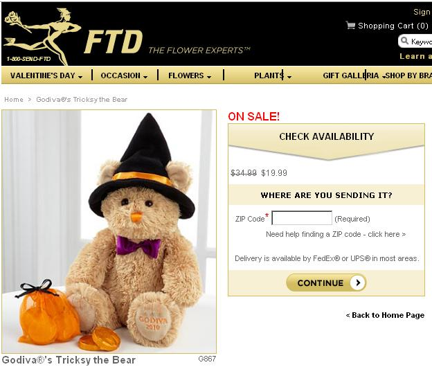FTD Godiva Bear Before Deal