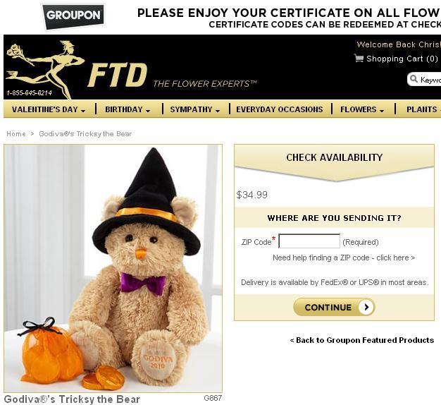 FTD Godiva Bear Groupon