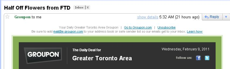 FTD Toronto Email Offer