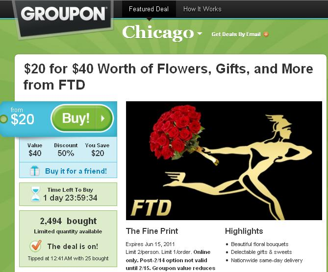 Groupon FTD Deal Chicago 9 feb