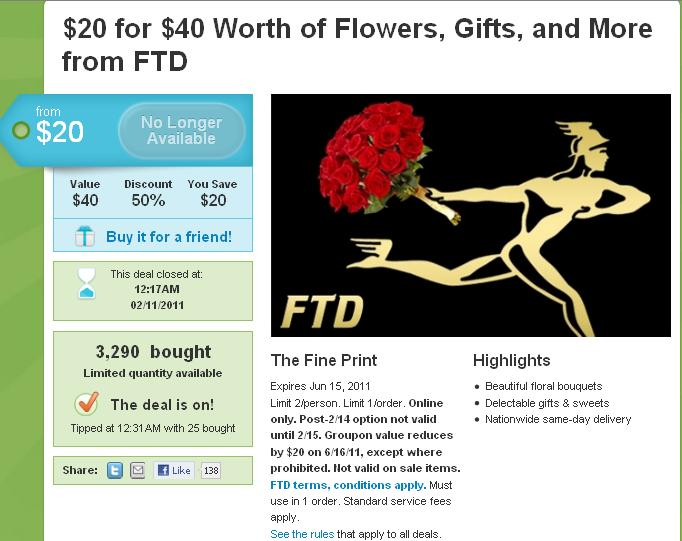 Groupon FTD New York Closed
