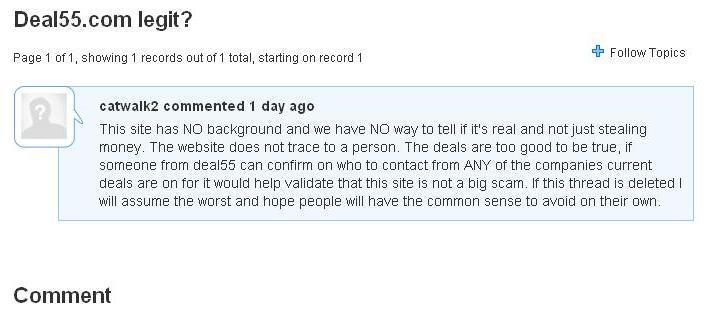 deal55 - comments - not legit