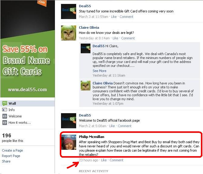 deal55 - facebook - no reply