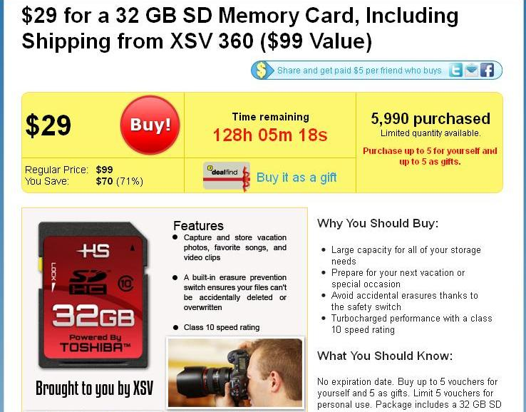 DealFind XSV 360 SDHC Toshiba Card Deal